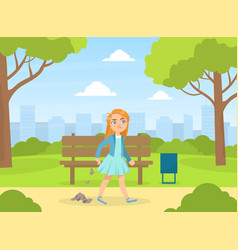 Bully girl littering in park kids aggressive vector