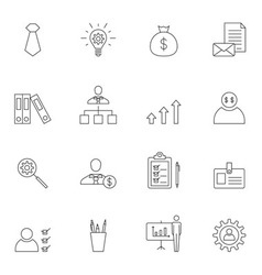 Business icon set outline vector image