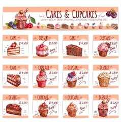 Cake menu template for bakery pastry shop design vector