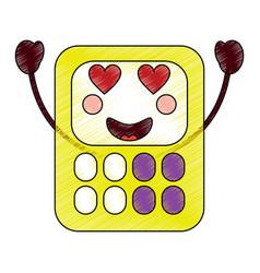 Calculator heart eyes school supplies kawaii ico vector