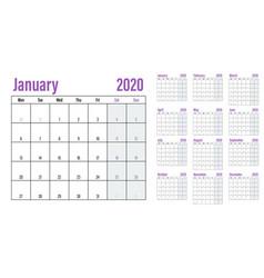 Calendar planner 2020 template vector