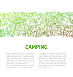 Camping line design template vector