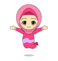 cartoon muslim girl is jumping happily cheerful vector image