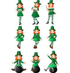 cartoon women leprechaun collection set vector image