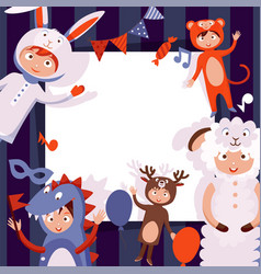 Children in costumes animals new years vector
