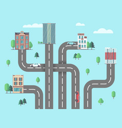 children road map suburb or city urbanization vector image