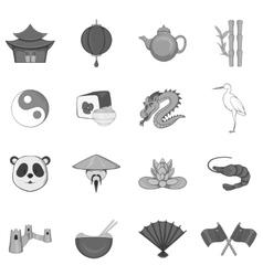 China icons set black monochrome style vector image