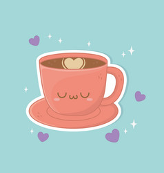 Coffee cup drink kawaii character vector