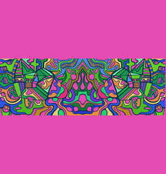 colorful doodle waves abstract psychedelic vector image