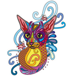 Colorful ornamental cat 9 vector