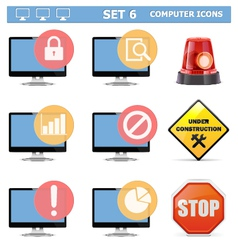 Computer icons set 6 vector