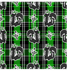 Cute punk skunk with skull on plaid background vector