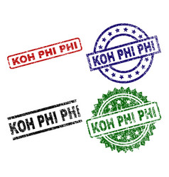 Damaged textured koh phi seal stamps vector