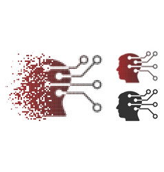 Destructed pixel halftone brain interface circuit vector