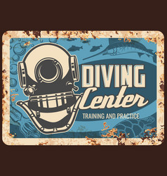diving center metal plate rusty scuba dive sport vector image