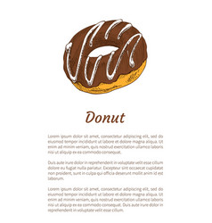 donut sweet dessert glazed with chocolate cream vector image