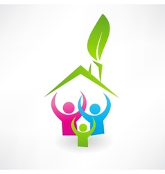 Ecological house and family icon vector