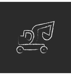 Excavator truck icon drawn in chalk vector
