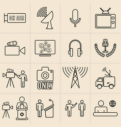 exhibition line icons set broadcasters vector image