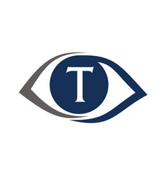 Eye care solutions letter t vector