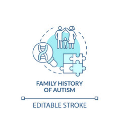 Family autism history concept icon vector