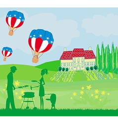 Family having barbecueHappy independence day card vector image