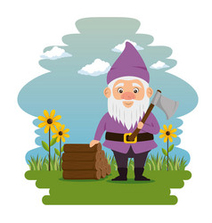fantastic character dwarf cartoon vector image