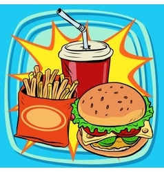 Fast food fries burger drink cola vector