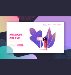 Female character stand at bid banner during online vector