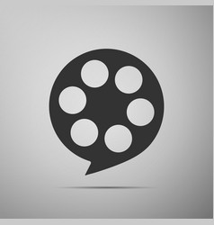 film reel flat icon on grey background vector image vector image