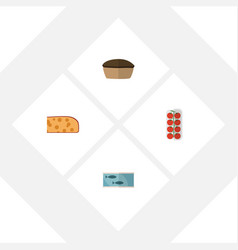 Flat icon food set of cheddar slice tomato tart vector