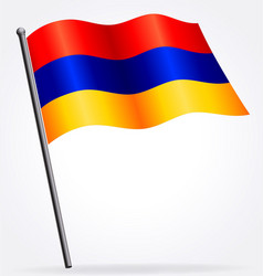 Flying waving armenian flag on flagpole vector