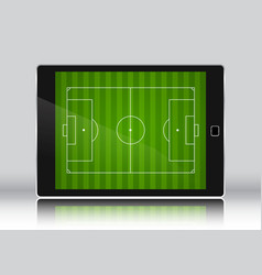 Football soccer field on an eletronic device vector