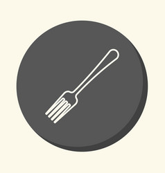 Fork for food round linear icon with the vector