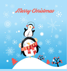 funny christmas card with penguins vector image vector image