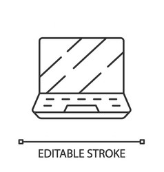 Gaming laptop linear icon vector