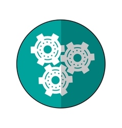gear wheel engine cog icon shadow green vector image
