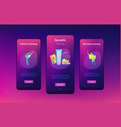 Genetic testing app interface template vector