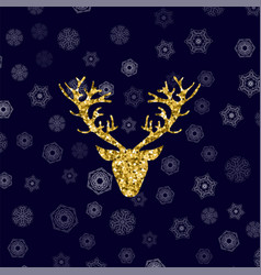 gold glitter deer head with branched horns vector image
