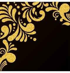 Gold Glitter Floral Invitation Card vector image