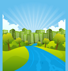 green city in summer time vector image
