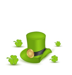 Green hat with buckle with clovers in saint vector image
