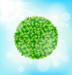 Green leaves circle frame with sun on sky vector