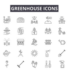 Greenhouse line icons signs set outline vector