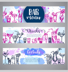 Hand drawn cocktails banners sketch of alcohol vector