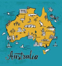 hand drawn sketch map of australia vector image