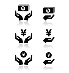 Hands with yen banknote coin icons set vector