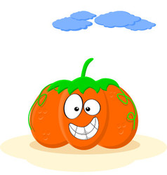 Happy Smiling Orange Cartoon Pumpkin vector image