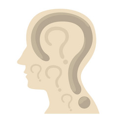 Head with question icon cartoon style vector