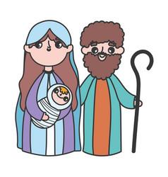 holy mary joseph and bajesus manger nativity vector image